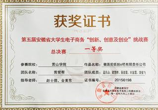 安徽省三创大赛一等奖2015